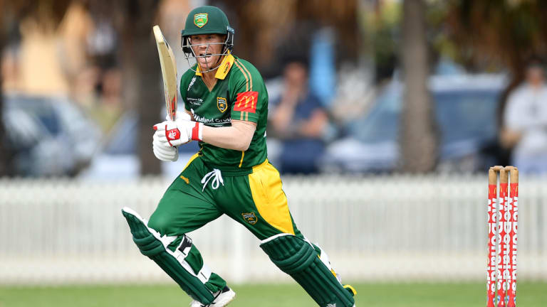 Over the top: Dave Warner was in a particularly devastating mood against St George during his knock of 155 not out.