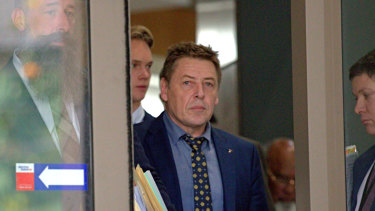 "Former AFL coach Mark ""Bomber"" Thompson at the Melbourne Magistrates Court to face drug charges on June 24, 2019."