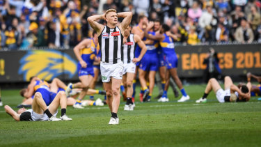 Collingwood's Adam Treloar is left to contemplate what might have been.