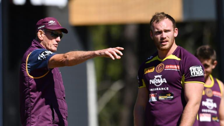 Guiding hand: Wayne Bennett shows Matt Lodge the way at training.