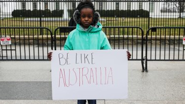 Makenzie Hymes, 13, calls for gun law reform during a protest at the White House.