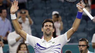 Novak Djokovic celebrates his victory over Federico Delbonis.