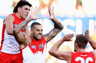 Lance Franklin celebrates one of his two goals in Saturday's win over Collingwood.