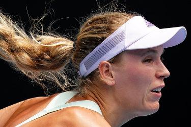 Caroline Wozniacki during her win at the Australian Open on Wednesday.
