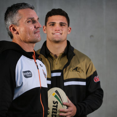 Family affair: Ivan and Nathan Cleary pose for photos ahead of their first match-up as father and son back in 2017.