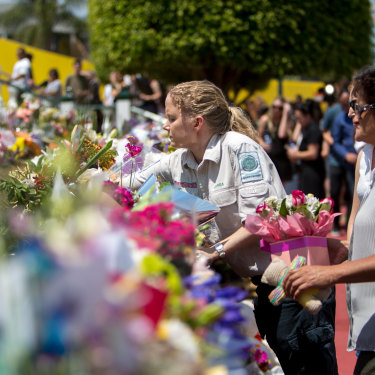 Floral tributes outside Dreamworld at the time of the tragedy.