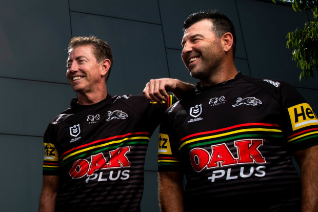 Penrith skipper James Tamou looks over his shoulder at Greg Alexander and Craig Gower, the last two captains to lead the Panthers to premiership glory.
