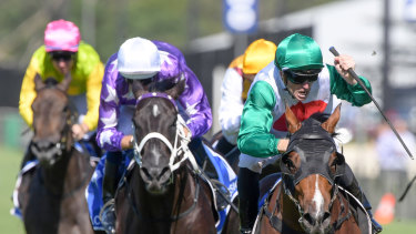 Raising the bar: Dundeel youngster Castelvecchio swoops down the outside in the Inglis Millennium.