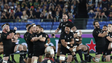 The All Blacks performing the haka in Japan at the World Cup.