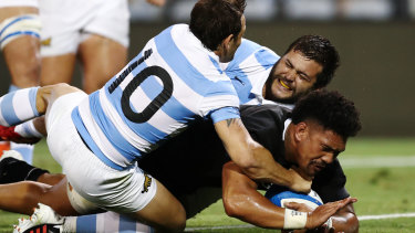 Ardie Savea breaks the shackles for the All Blacks with the first try against Argentina in the second half in Newcastle.