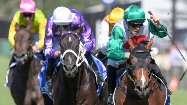 You beauty: Josh Parr salutes after Castelvecchio swoops down the outside in the Inglis Millennium.