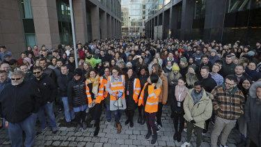 Employees gather outside Google's European headquarters in Dublin.