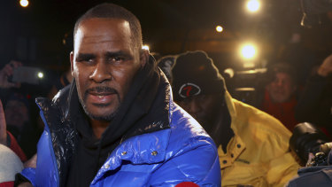 R. Kelly at a Chicago police station on February 22.