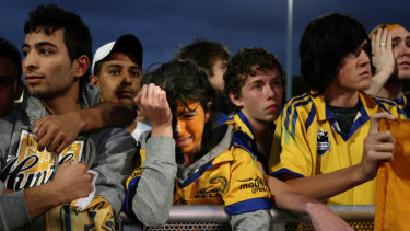 Heartbreak: Disappointed Eels fans watch their side lose the 2009 grand final. Little did they know the finals drought that loomed.