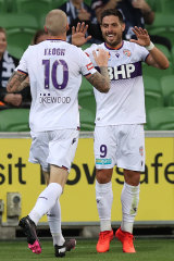 Scorer Bruno Fornaroli (right) and Andy Keogh caused early headaches for Victory.