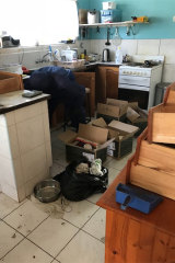 A photo taken by forensic cleaners shows the state of Mr Colley's home at the time of his death.