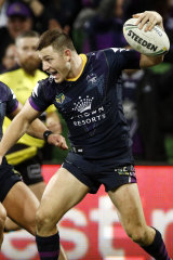 Ryley Jacks scores a try for Storm.