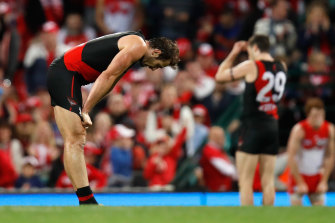 The retiring Jobe Watson at the end of the 2017 finals loss to Sydney.