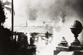 A view of the flames from the Royal Ballroom shows the fire engulfing the aquarium.