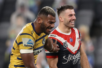 James Tedesco shares a joke with Maika Sivo.