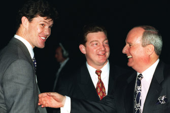 Alan Jones with James Packer and Phil Gould in 1998.