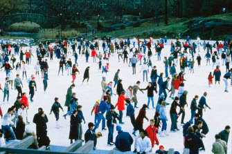 Ice skating at Wollman Rink in Central Park.