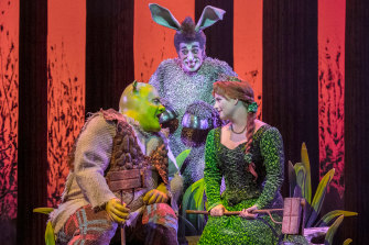 Shrek (Ben Mingay), Donkey (Nat Jobe), and Princess Fiona (Lucy Durack) in Shrek the Musical.