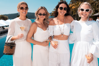 Kate Waterhouse, Nadia Fairfax, Christine Salter, Nicky Oatley at the Hamilton Island Race Week Paspaley white luncheon in 2018.