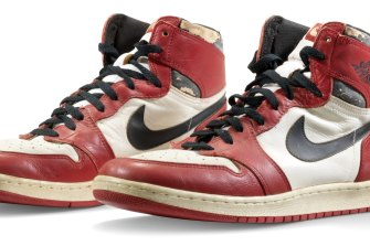 The Nike Air Jordan 1 shoes Michael Jordan wore during a 1985 exhibition game in Trieste, Italy where the backboard shattered on his slam dunk sold for $US615,000 last year ($772,000).