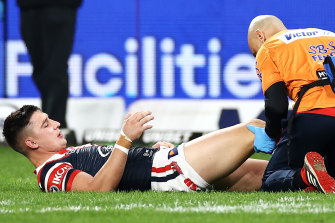 Roosters lock Victor Radley goes down with a suspected ACL tear.