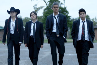 Rebels with a cause: Paulina Alexis, Devery Jacobs, D'Pharaoh Woon-A-Tai and Lane Factor in Reservation Dogs.