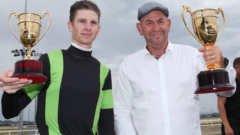 Trainer Craig Phelan with jockey Jye McNeil after Our Big Mike's win.