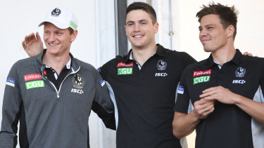 Forward Will Hoskin-Elliott (left) and key half-back Jack Crisp (centre) have extended their contracts to 2022 and 2023 respectively.