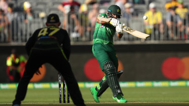Well covered: Pakistan's Imam Ul Haq in action during game three of the International Twenty20 series against Australia.