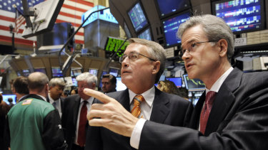 Wayne Swan with New York Stock Exchange vice-president Jeffrey Eubanks during his visit to the trading floor in 2008.