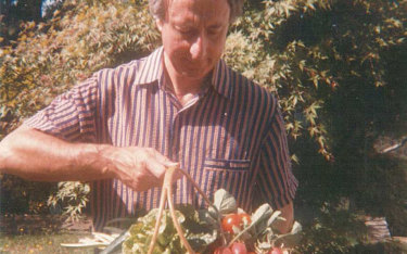 Roger Covell with the fruits of his gardening labours.