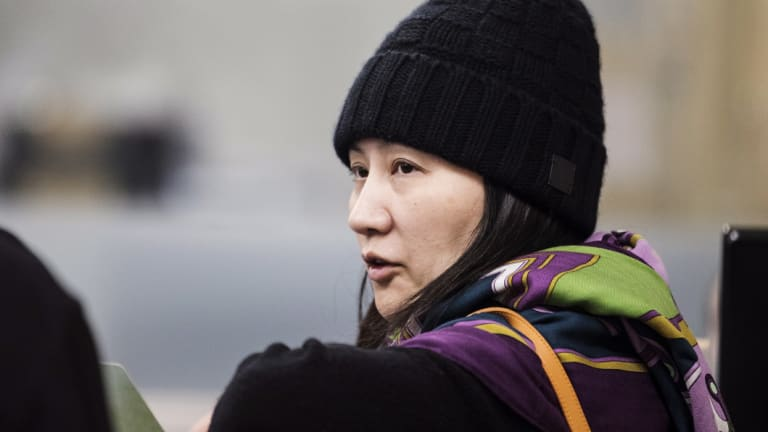 Huawei chief financial officer Meng Wanzhou arrives at a parole office in Vancouver after being arrested on December 1.