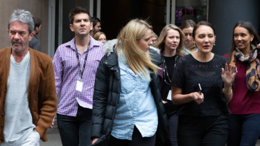 ABC staff walk out in protest over chairman Justin Milne's attempt to sack journalist Emma Alberici.