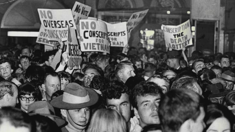 Polarisation is not new: protesters demonstrate against the Vietnam War as conscripts in Sydney wait for the train to take them to camps in Wagga Wagga and Puckapunyal.