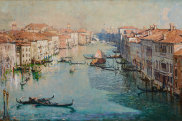 Detail of Arthur Streeton's THE GRAND CANAL, 1908, oil on canvas, 92.0 x 168.5 cm