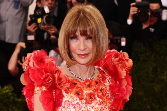"""Anna Wintour, wearing Chanel, arrives at The Metropolitan Museum of Art's Costume Institute benefit gala celebrating """"China: Through the Looking Glass"""" on Monday, May 4, 2015, in New York. (Photo by Charles Sykes/Invision/AP) For Anna Wintour Melbourne story."""