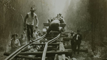 Refugees from the Ada Mill near Noojee emerge from a dugout.