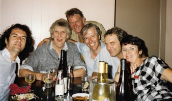 Jean-Paul Delamotte with Margaret Whitlam (at the Whitlams'), with Tom Thompson, Ross Steele, Frank Moorhouse and Kay Suters.