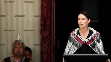 PM Jacinda Ardern speaks at the sacred grounds in Waitangi.