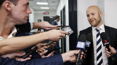 Moving on: Gary Ablett speaks to the media.