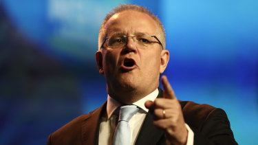 Prime Minister Scott Morrison speaks at the NSW Liberal Party Conference in Sydney on Saturday.