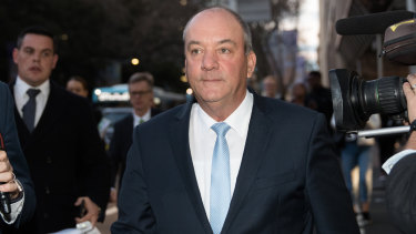 Daryl Maguire outside ICAC on Friday. He resigned from the Liberal Party at the end of the day's hearing.