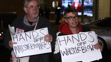 Protesters at the ABC in Sydney during the Australian Federal Police raid.