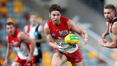 Dane Rampe wore a glove on his right hand against St Kilda, days after undergoing surgery on a broken hand.