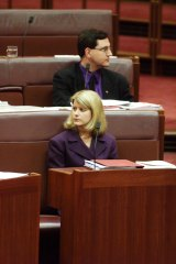 Then-senators Andrew Bartlett and Natasha Stott-Despoja in June, 1999, voting against the GST. They were the only Democrats to do so.